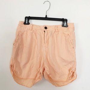 Zara Peach High-Waisted Linen Blend Shorts